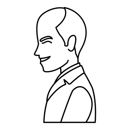 portrait happy groom in a wedding suit laughing vector illustration 矢量图像