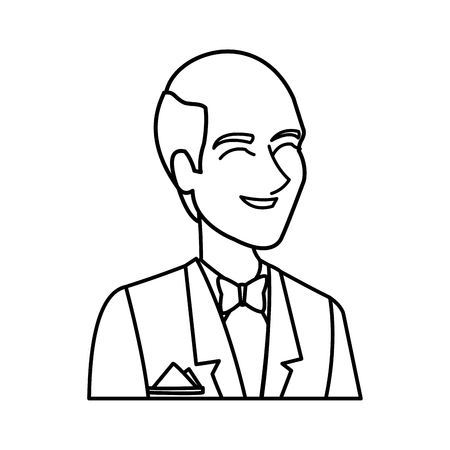 portrait happy groom in a wedding suit laughing vector illustration Illustration