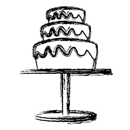wedding cake and pedestal sweet food vector illustration Illustration