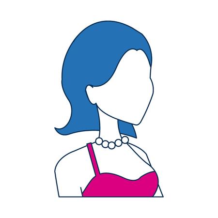 portrait woman bride wedding character dress strapless vector illustration