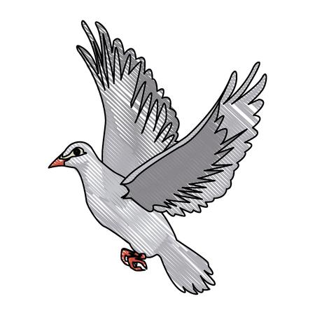 flying white dove on white background as symbol of peace vector illustration Illustration