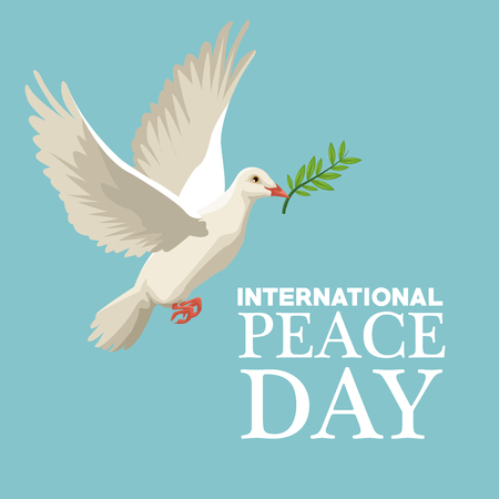 color poster pigeon flying with olive branch in peak international peace day text vector illustration