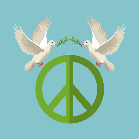 color poster pair pigeons with olive branch in peak flying with peace and love symbol vector illustration