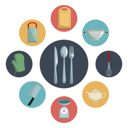 color circular icons with different utensil of kitchen inside and closeup cutlery in center vector illustration