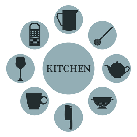 white background with set collection bluew color of circular icons different silhouette elements kitchen inside vector illustration Illustration