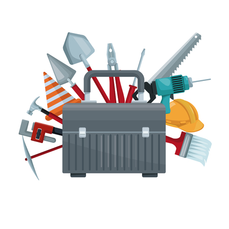 white background with suitcase of tool with elements construction around vector illustration Illustration