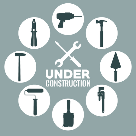 monochrome background with circular frame with silhouette of tools with closeup in center of screwdriver crossed of wrench text under construction vector illustration