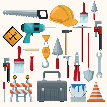 white background with colorful icons of tools contruction vector illustration