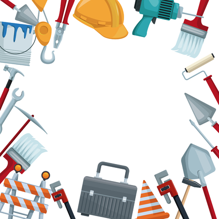 white background with colorful border icons of tools contruction vector illustration