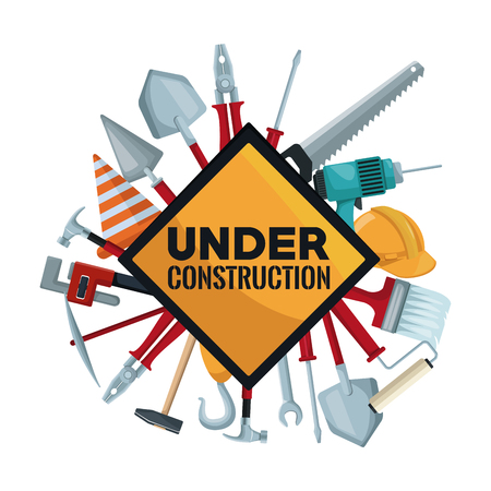 white background with traffic signal in diamond shape with set of tools contruction around vector illustration