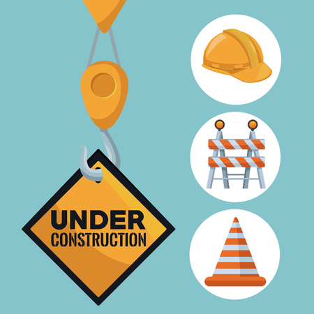 color background with crane hook holding a transit signal in diamond shape with under construction text and icons of tools vector illustration