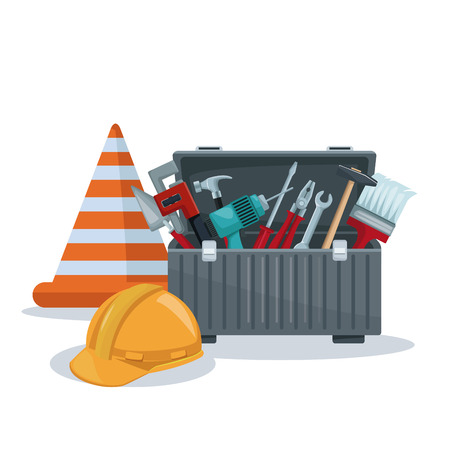 white background with toolbox and cone with helmet protection vector illustration