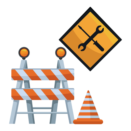 white background with barricade and traffic signal with tools and cone of cosntruction vector illustration