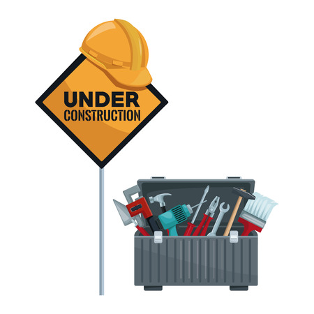 white background with traffic signal in pole with helmet and under contruction text with toolbox vector illustration