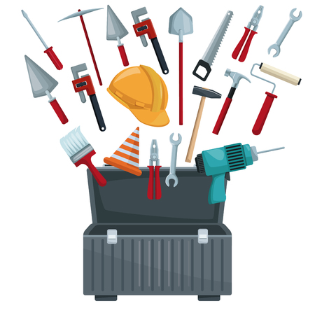 roller brush: white background with toolbox opened and utensils floating vector illustration