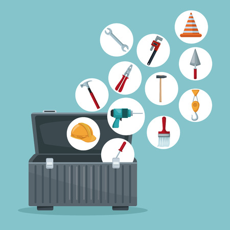 color background with toolbox opened and utensils floating in circular frame icons vector illustration