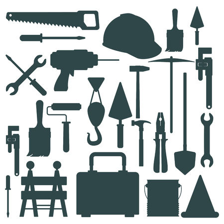 white background with monochrome silhouette tools for contruction vector illustration