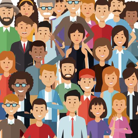 kleurrijke achtergrond met set half lichaam groep mensen vector illustratie
