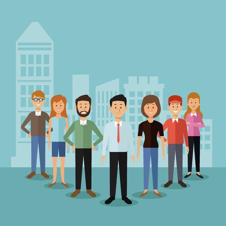 立っていると都市風景のシルエット ベクトル図の背後にある全身グループ人と背景を色します。