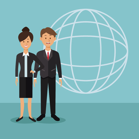 color background with globe map shape of full body couple of the world diversity vector illustration