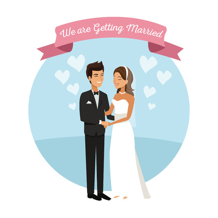 white background with color circular frame poster of newly married couple groom holding hands vector illustration Illustration