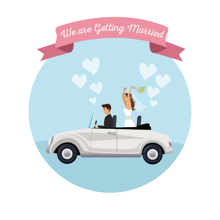white background with color circular frame poster of newly married couple groom in vehicle vector illustration