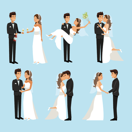 color background with scenes of newly married couple in different standing vector illustration