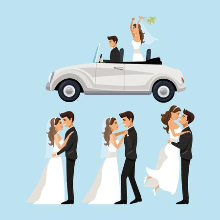 Farbhintergrund mit Szenen des eben verheirateten Paars in der unterschiedlichen Stellung und im Auto heirateten gerade Vektorillustration