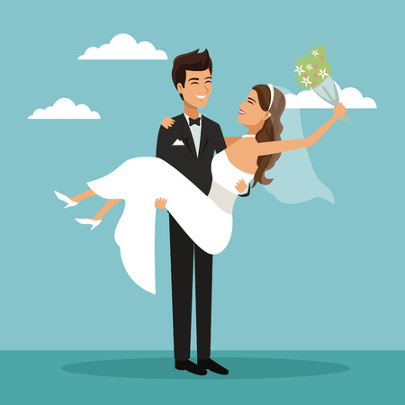 color sky landscape background with newly married couple groom carrying to bride and her with bouquet flower in your hand vector illustration