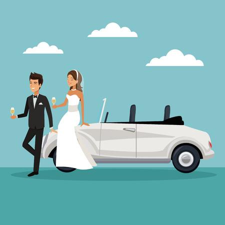 Fondo de paisaje de cielo de color con la pareja de recién casados ??en sentarse en coche y beber una ilustración de vector de champagne