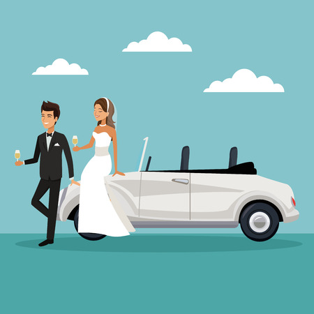 kleur hemel landschap achtergrond met pas getrouwde paar in zitten in de auto en het drinken van een champagne vector illustratie
