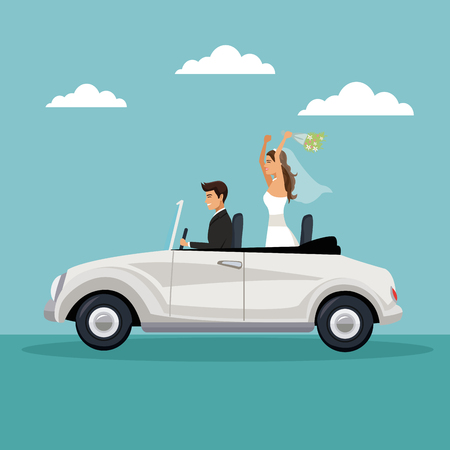Farbe Himmel Landschaft Hintergrund mit neu verheiratet Paar in einem Auto fahren Vektor-Illustration