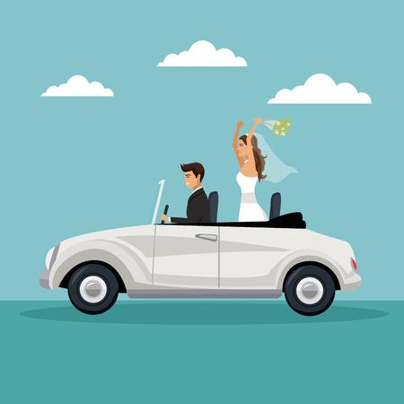 Fondo de paisaje de cielo de color con pareja de recién casados ??conduciendo en una ilustración de vector de coche
