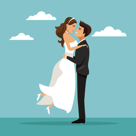 color sky landscape background with newly married couple groom carrying to bride vector illustration