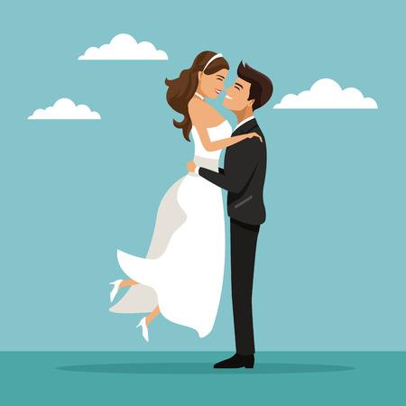 Farbe Himmel Landschaft Hintergrund mit eben verheiratet Paar Bräutigam mit Braut Vektor-Illustration