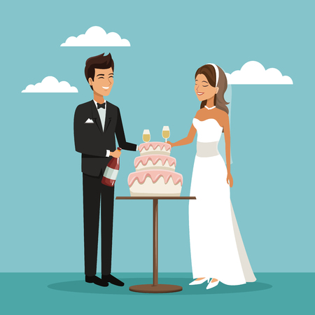 champagne celebration: color sky landscape background with newly married couple scene of cake and champagne toast vector illustration
