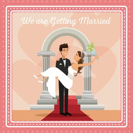 私たちは結婚手テキストに花束花と花嫁と彼女を運ぶカップルの新郎とカラフルな gretting カード ベクトル イラスト