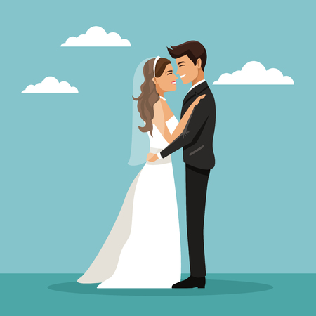color sky landscape background with newly married couple embraced and happines expression vector illustration