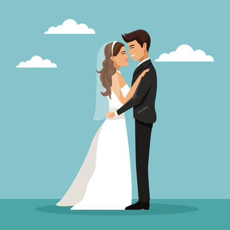 Farbe Himmel Landschaft Hintergrund mit neu verheiratet Paar umarmte und happines Ausdruck Vektor-Illustration Standard-Bild - 84524752