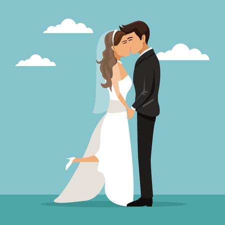 Farbhimmel-Landschaftshintergrund mit dem frisch verheirateten Paar, das Vektorillustration küsst Standard-Bild - 84524755