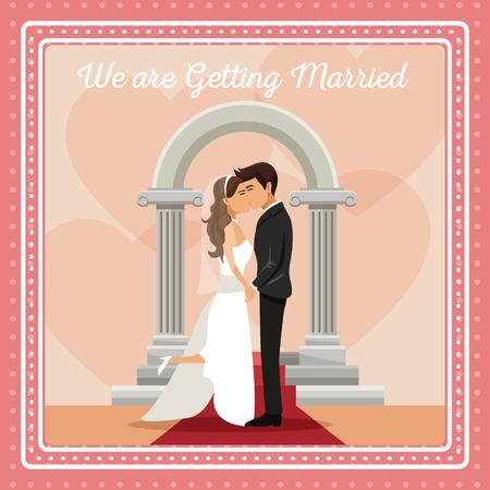 Bunte gretting Karte mit paar Bräutigam und Braut küssen Text wir heiraten Vektor-Illustration Standard-Bild - 84524756