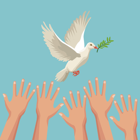 color poster hands and pigeon peace symbol with olive branch in peak vector illustration Çizim