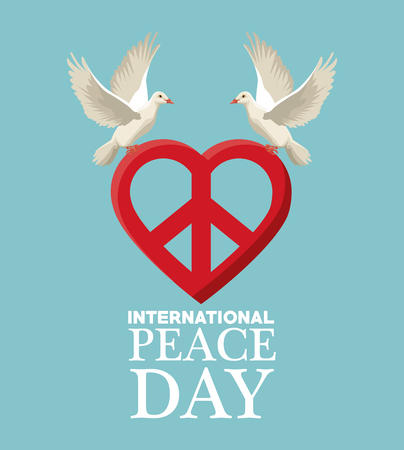 color poster pair pigeons flying with heart shape peace and love symbol vector illustration