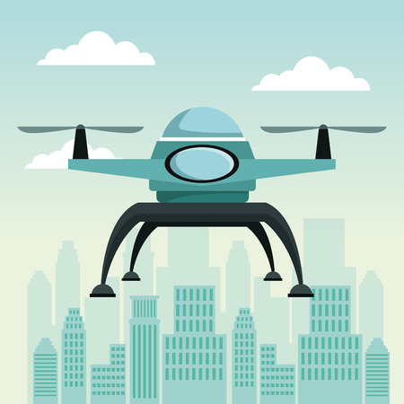city landscape scene with drone with two airscrew flying vector illustration Illustration