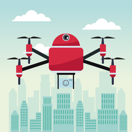 city landscape scene with drone with four airscrew flying and camera vector illustration