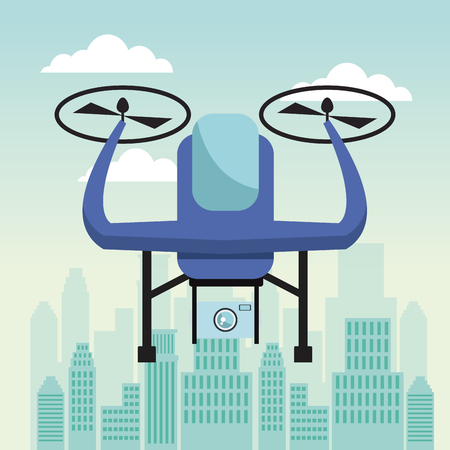 city landscape scene with drone with two airscrew flying and device camera vector illustration