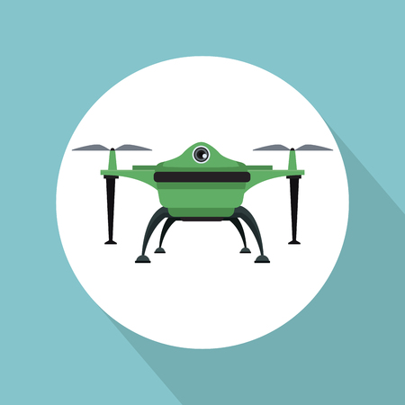 color background with circular frame drone with two airscrew flying and base vector illustration