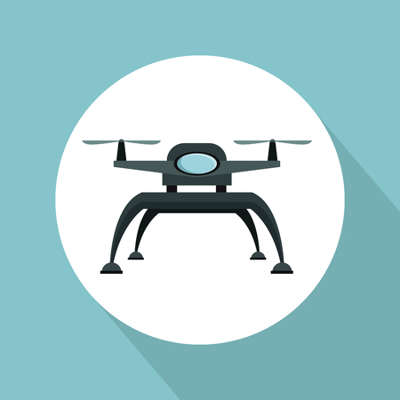 color background with circular frame drone with two airscrew and base of legs vector illustration