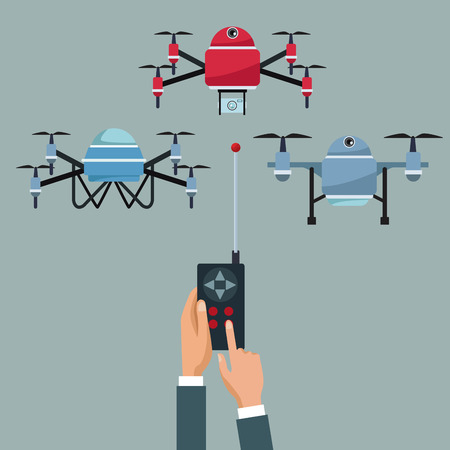 color background with people handle remote control of quadrocopters and drones vector illustration Illustration