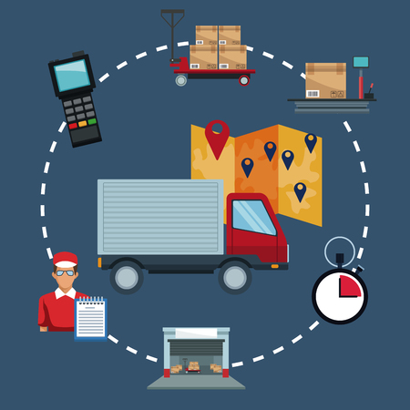 color background with icons storage logistics and closeup truck with map location vector illustration